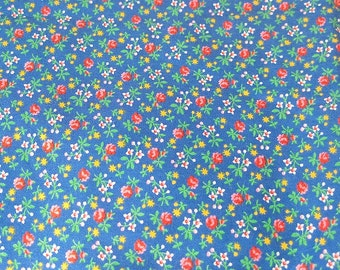 Blue and Pink Floral Cotton Fabric