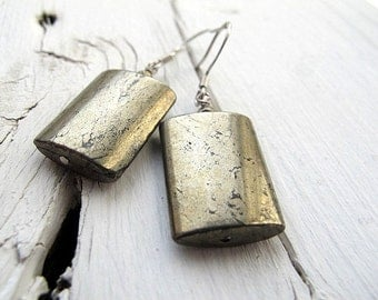 Pyrite Earrings Fools Gold Dangles Minimalist Drop Earthy Bohemian Rustic Jewelry Womens Accessory Natural Stone Inspired by Nature