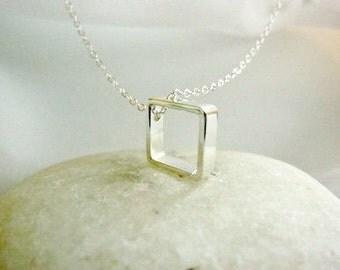 Classic Fine Silver Square Pendant Necklace-Simple Square Charm Necklace-Gold Square Frame Necklace-Geometric Charm Necklace-Momentusny