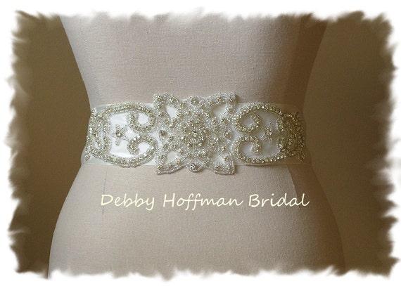 Vintage Style Bridal Sash, Rhinestone Crystal Wedding Gown Sash, Silver Beaded Rhinestone Wedding Sash, Wide Jeweled Bridal Belt,No. 1131S