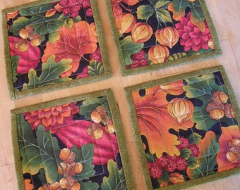 Quilted Autumn Leaves Coasters - Set of 4