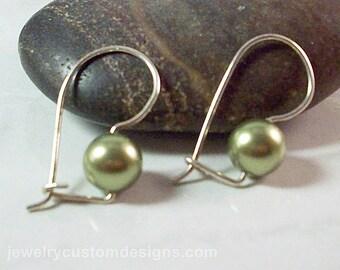 Swarovski Pearl Earrings set in sterling silver, stay put earrings