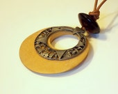 Vintage Natural Wood and Metal Pendent Necklace with Foe Leather cord and Glass Bead