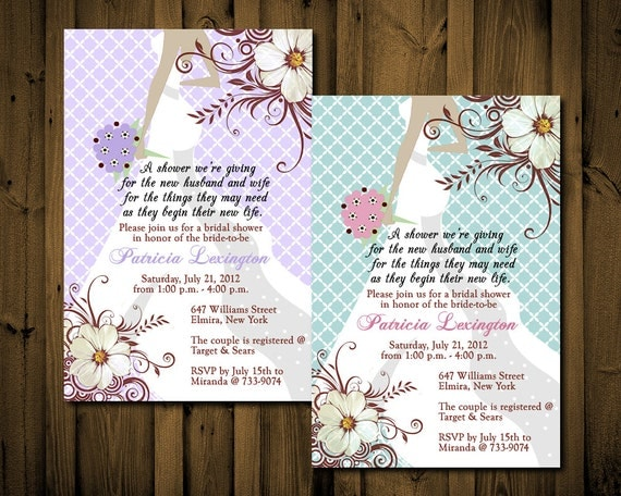 Victorian Bridal Shower Invitations Chic YOU PRINT DIGITAL Any Color ...