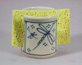 Sponge Holder  Blue Dragonfly  Stoneware