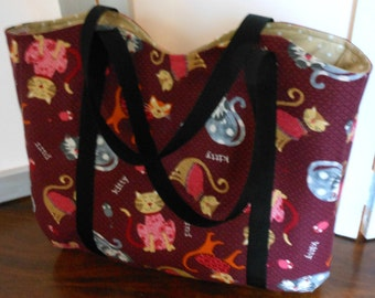 Medium Tote Cats on Burgundy