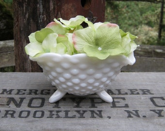Milk Glass Hobnail Three Footed Bowl with Scalloped Rim - Oak Hill Vintage