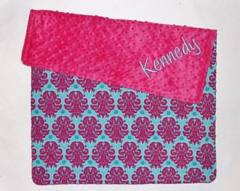 PERSONALIZED Baby Girl Blanket in Pink and Aqua - Medallions