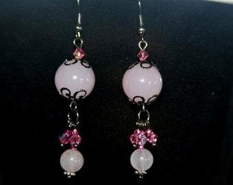 Earring crystal,  Earrings, pink earrings.pink and black Earrings,rose earrings,quartz rose errings