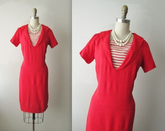 60's Sailor Dress // Vintage 1960's Red Linen Sailor Mad Men Sheath Dress M
