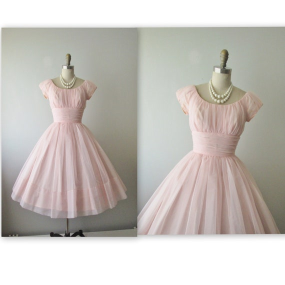 50's Chiffon Dress // Vintage 1950's Ruched Pink