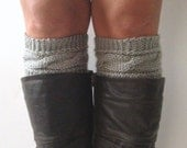 Grey Boot Liners Boot Cuffs Handknit Cabled Boot Toppers