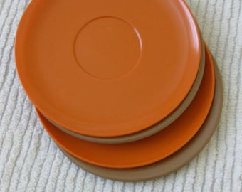 40% Off SALE - A Set of Four Melmac Saucers in Chocolate and Pumpkin - Was 8/Now 4.80