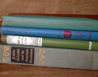 Group of Blue and Green Books