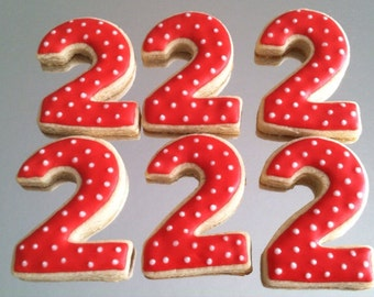 Number 2 sugar cookie, Second Birthday Party cookies , 1 dozen