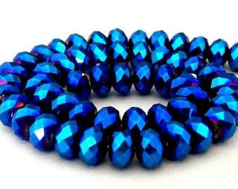 18 metallic blue beads, 6mm x 4mm deep blue metallic Chinese crystal rondelles