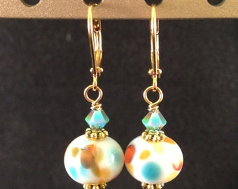 Drop earrings - lamp work glass - pastels