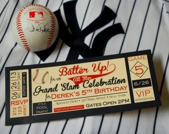 Baseball Party Pack - 10 Invitations, HBD Banner, High Chair Banner, Concessions Banner, Cupcake Toppers