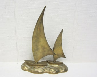 Vintage Brass Sailboats Figurine Nautical Decor