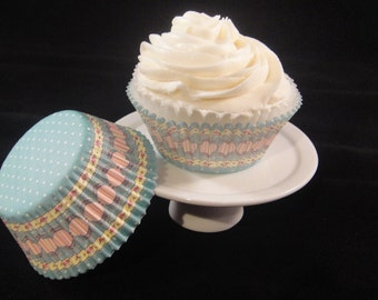 Elegant Blue and Pink Cupcake Liners