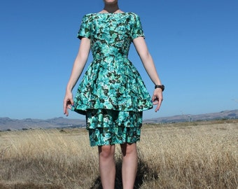 1950s Party Dress // Suzy Perette Blue Floral Dress // Size Small