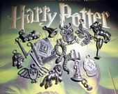 15 different Harry Potter inspired charms pendants Collection Set wizard witch snake lion book goblet lightning bolt sorting hat owl - P0026