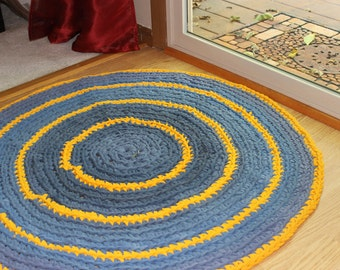 Shades of Muted Blue Grey and Golden Yellow Multicolored Round Rag Rug 3 feet Diameter