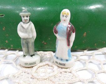 Irish Bisque Feve Miniature Couple Figurines -ST. PATRICKS DAY - From France