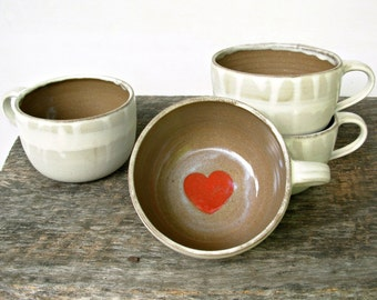 Cup of Love Latte Mug- Rustic Cream with Coral Red Heart