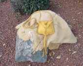 Hand Crafted Golden Yellow Deerskin fully lined in dark brown leather Raunch Belly Boy Bag Purse Handbag Shoulder Crossbody Hippie Boho