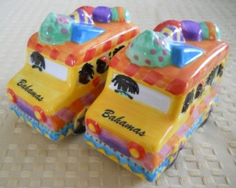 Bahamas Tour Bus Salt and Pepper Shakers - Vintage, Collectible, Souvenir