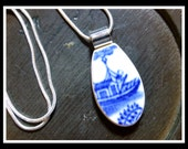 BLUE WILLOW Fishing Boat - Recycled Broken Vintage CHINA Plate Necklace - Reserved for Ashley