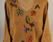 Hand Painted 100% Cotton Sweater  'LEAF PROJECT' falling leaves design on SAND Sweater
