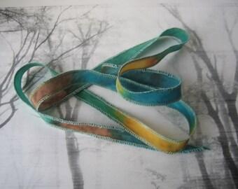 Hand Dyed Painted Habotai Silk Wrap Bracelet - Clover Stream Butterscotch Rust - Fairy Ribbon