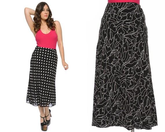 black polka dot skirt high waisted by gravelghostvintage