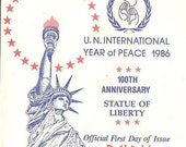 PALAU First Day Cover with C17 Statue of Liberty United Nations International Year of Peace 1986 Vintage Paper Ephemera