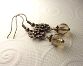Steampunk Brown Taupe Round Multi Faceted Dangle Earrings