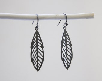 Leaf Earrings. Charcoal. Statement Earrings. Everyday Wear. Modern Chic. Gift For Her (SER-60)