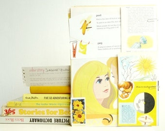"REDUCED Colour Swatch Collection - 'Sunshine Yellow' themed VINTAGE PAPERS - Large ""Plundered Pages"""