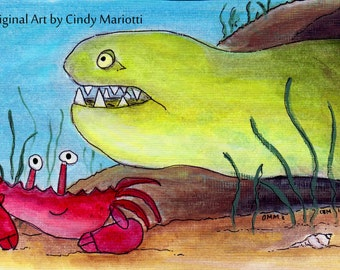 "Bathroom Art, Under the Sea Wall Art for Kids, Print of My Original Illustration ""Chatty Neighbors"""