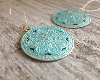Patina Shield Earrings, Moroccan Earrings, Patina Earrings, Turquoise Brass Earrings, Turquoise Jewelry, Bohemian Earrings, Bohemian Jewelry