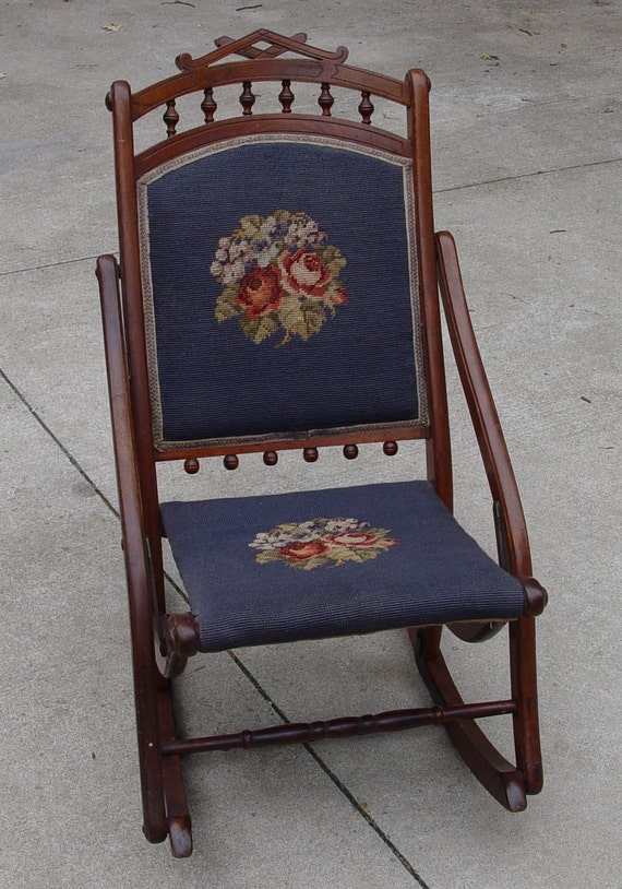 Items similar to Antique Sewing Rocker Rocking Chair Needlepoint Back and  Seat Original Condition Furniture on Etsy - Items Similar To Antique Sewing Rocker Rocking Chair Needlepoint