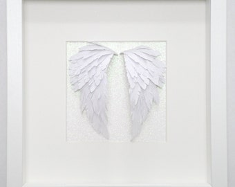 Angel Wings Framed Paper Cut Art