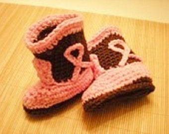 Pink and Brown Cowgirl Boots Crocheted Booties