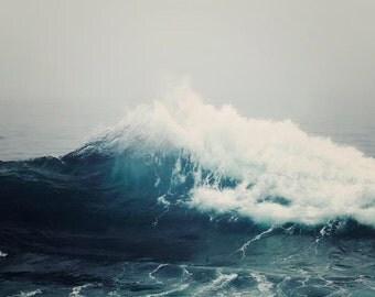 "Nautical Sea Wave Photograph, Stormy Sea, Nay Blue, Nautical Home Wall Art, Ocean Print, Gray White Blue, ""Sea Storm"""