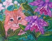 Tabby Cat red orange art painting cattleya Orchids pet animal portrait - Original painting oil Pastel orchids