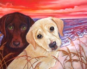 Custom pet Portrait or Gift Certificate  2 dogs or cats ORIGINAL painting dog art painting  pet portrait