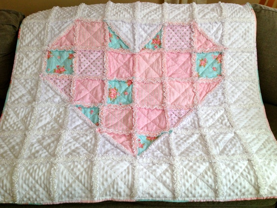Patchwork Love Heart Pink and Aqua Minky Rag Quilt