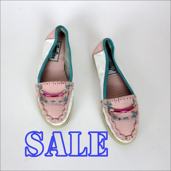 pastel moccasins 6.5 leather color block flats