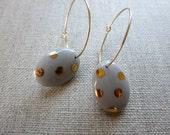 Golden Dot Oval Hoop Earrings in Grey FINAL SALE